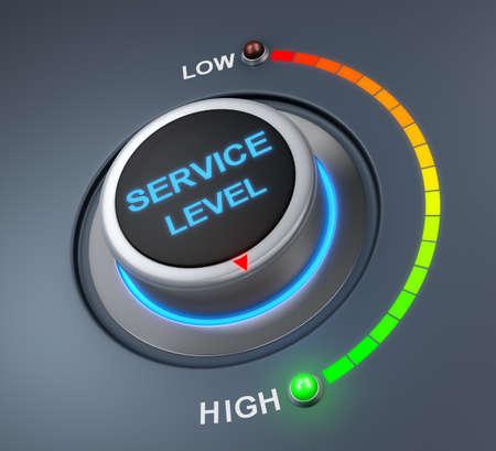 service level button position. Concept image for illustration of service level in the highest position , 3d rendering Banco de Imagens
