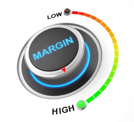 margen: margin button position. Concept image for illustration of margin in the highest position , 3d rendering