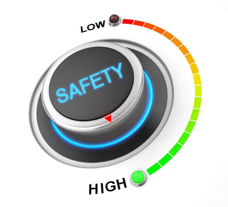 control fraud: safety button position. Concept image for illustration of safety in the highest position , 3d rendering