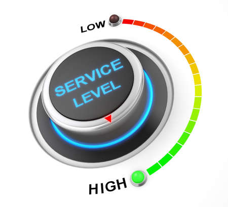 service level button position. Concept image for illustration of service level in the highest position , 3d rendering Stok Fotoğraf