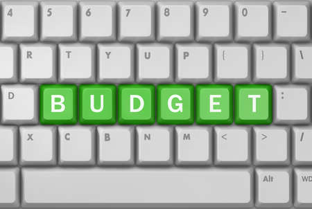 marginal: Text budget button, 3d rendering Stock Photo