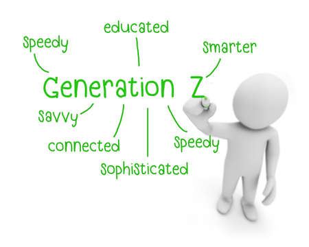 generation z text ,business man writing generation z concept ,Man Explain the meaning of generation z, 3d rendering Stock Photo