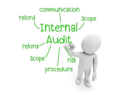 accounting records: hombre de negocios por escrito concepto de auditor�a interna, hombre explicar el significado de la auditor�a interna, la representaci�n 3d