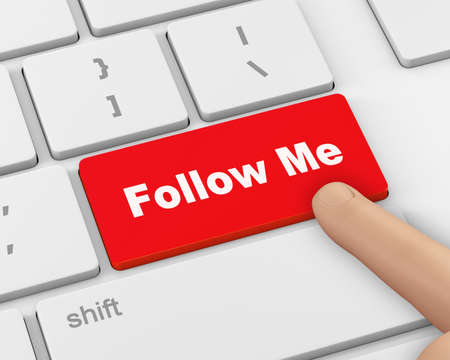 me: keyboard with  Follow Me button, 3d rendering Stock Photo