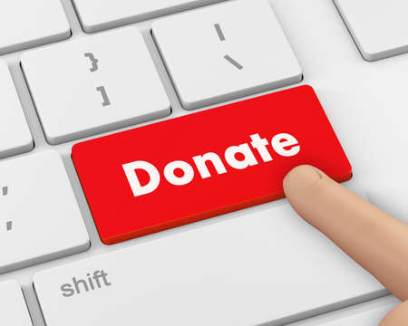 solicitation: donate button on computer keyboard pc key, 3d rendering