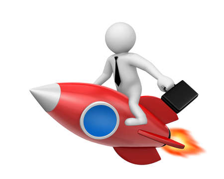 analogy: Startup concept. Businessman and a rocket is start up symbol, 3d rendering