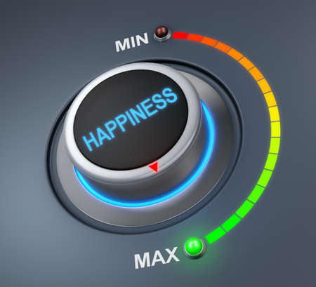 celebrate life: happiness button position. Concept image for illustration of happiness in the highest position , 3d rendering