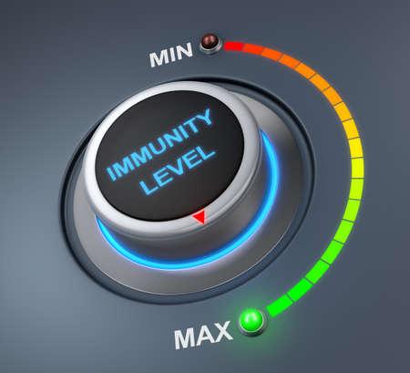 inmunidad: nivel de inmunidad posici�n del bot�n. concepto de imagen para la ilustraci�n del nivel de inmunidad en la posici�n m�s alta, la representaci�n 3d Foto de archivo