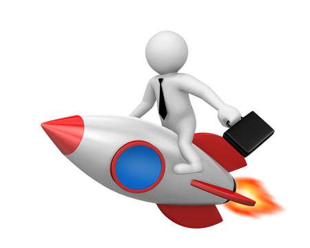 Startup concept. Businessman and a rocket is start up symbol, 3d rendering