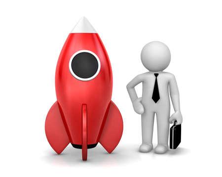 rivets: Startup concept. Businessman and a rocket is start up symbol, 3d rendering