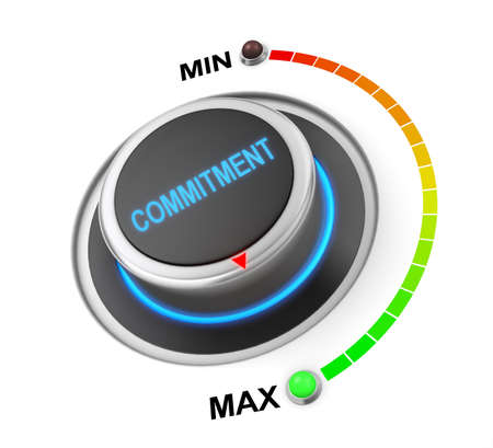 dedicate: commitment button position. Concept image for illustration of commitment in the highest position , 3d rendering