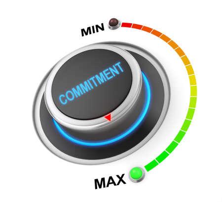 posizione del pulsante impegno. Immagine di concetto per l'illustrazione dell'impegno nella posizione più alta, rendering 3d