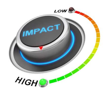 posición del botón impacto. concepto de imagen para la ilustración del impacto en la posición más alta, la representación 3d