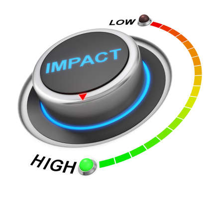 impact button position. Concept image for illustration of impact in the highest position , 3d rendering
