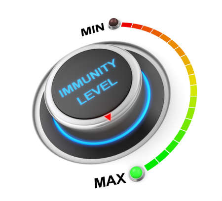inmunidad: immunity level button position. Concept image for illustration of  immunity level in the highest position , 3d rendering Foto de archivo