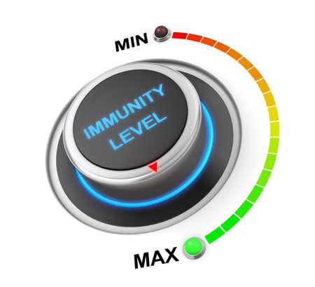 immunity level button position. Concept image for illustration of  immunity level in the highest position , 3d rendering Banco de Imagens