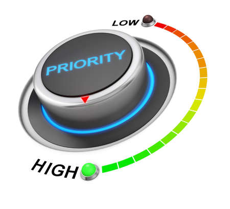 priority: priority button position. Concept image for illustration of priority in the highest position , 3d rendering Stock Photo