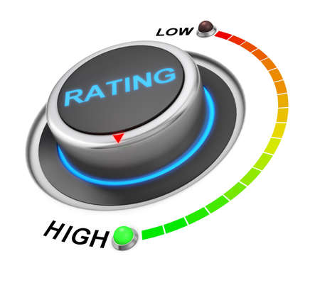 highest: rating button position. Concept image for illustration of rating in the highest position , 3d rendering Stock Photo