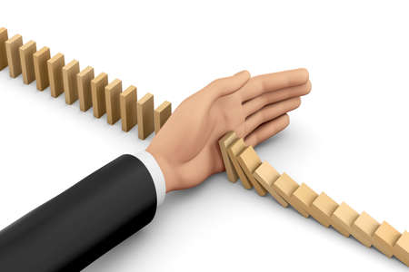 fragile economy: risk management, hand stopping the domino effect, risk control concept ,3d rendering