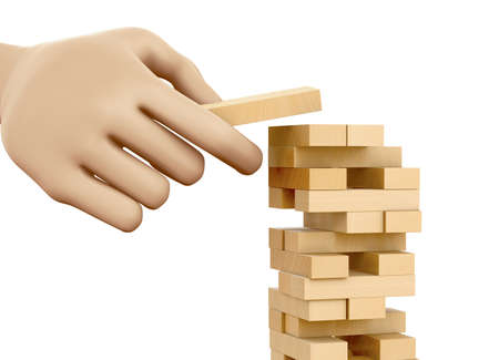 risk concept, Planning, risk and strategy in business, businessman gambling placing wooden block on a tower, 3d rendering Stock Photo