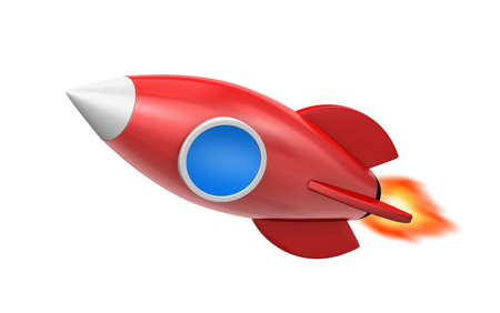 Illustration of a cute cartoon rocket space ship, 3d rendering