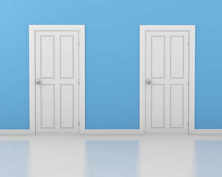 white door: 3d interior with 2 white doors and blue walls, .3d rendering Stock Photo