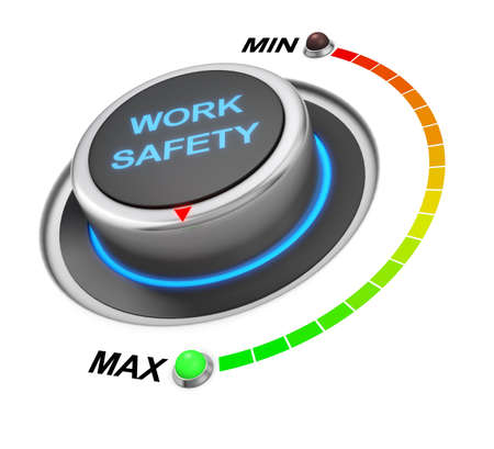 warning indicator: work safety button position. Concept image for illustration of work safety in the highest position , 3d rendering Stock Photo