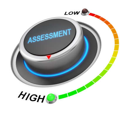 assessment system: assessment button position. Concept image for illustration of assessment in the highest position , 3d rendering Stock Photo