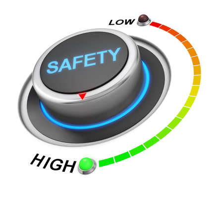 assessment system: safety button position. Concept image for illustration of safety in the highest position , 3d rendering