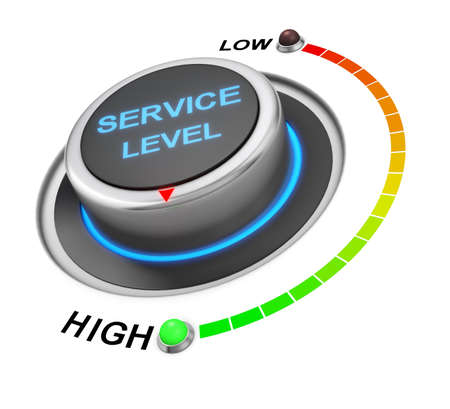 efficacy: service level button position. Concept image for illustration of service level in the highest position , 3d rendering Stock Photo