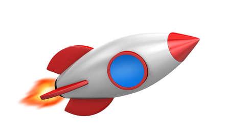rivets: Illustration of a cute cartoon rocket space ship, 3d rendering