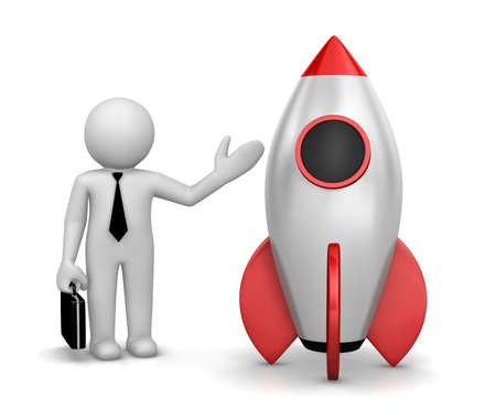 Startup concept. Businessman and a rocket is strat up symbol, 3d rendering Stock Photo