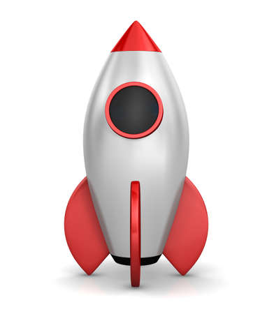 chrome man: Startup concept.  a rocket is strat up symbol, 3d rendering Stock Photo