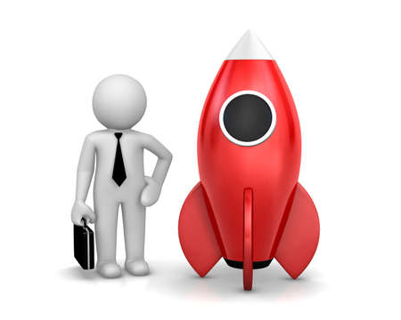 strat: Startup concept. Businessman and a rocket is strat up symbol, 3d rendering Stock Photo