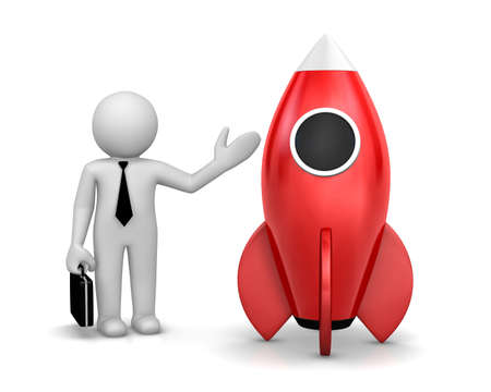 rivets: Startup concept. Businessman and a rocket is strat up symbol, 3d rendering Stock Photo