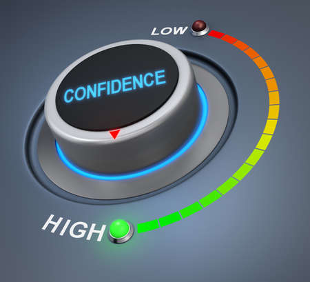 confidence button position. Concept image for illustration of confidence in the highest position , 3d rendering