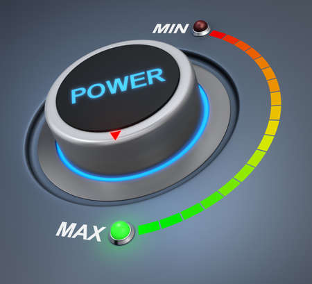 powerful creativity: power button position. Concept image for illustration of power in the highest position , 3d rendering Stock Photo