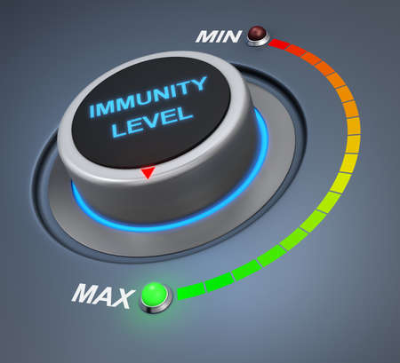 immunity: immunity level button position. Concept image for illustration of  immunity level in the highest position , 3d rendering Stock Photo