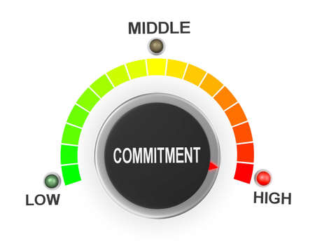 obligated: commitment button position. Concept image for illustration of commitment in the highest position , 3d rendering