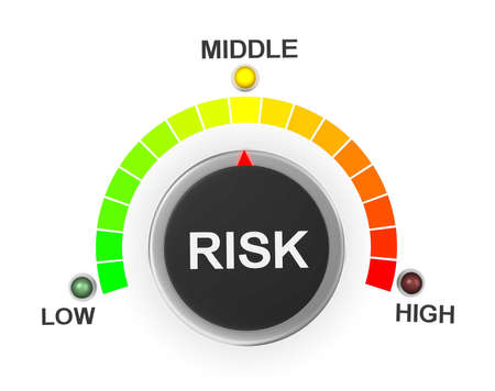 risky business: Risk button pointing between low and high level, 3d rendering Stock Photo