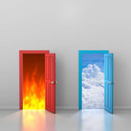 Doors to heaven and hell, 3d rendering Foto de archivo