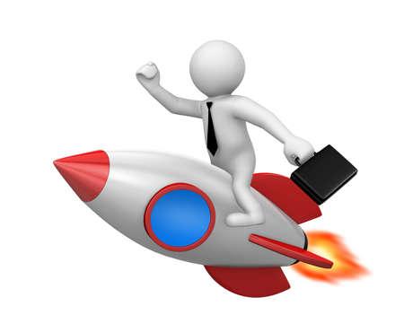Startup concept. Businessman and a rocket is strat up symbol, 3d rendering Reklamní fotografie