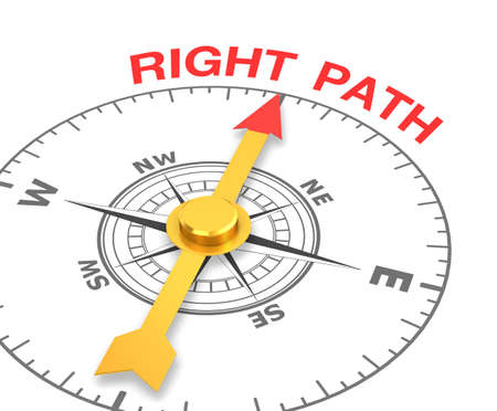 advisory: compass with the needle pointing the word right path. 3d rendering Stock Photo