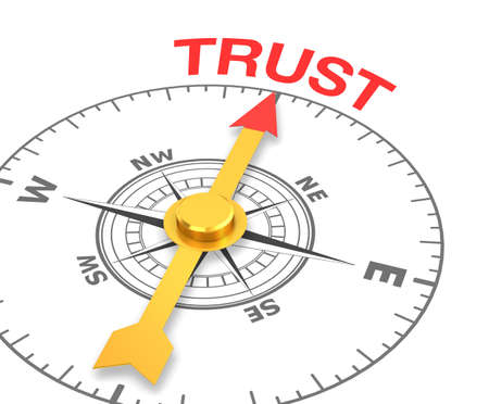 synergism: compass with the needle pointing the word trust. 3d rendering