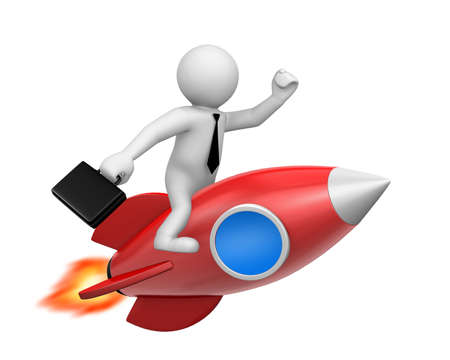analogy: Startup concept. Businessman and a rocket is strat up symbol, 3d rendering Stock Photo