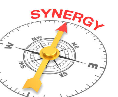 synergism: compass with the needle pointing the word synergy. 3d rendering Stock Photo