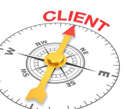 kompas met de naald naar het woord client, 3D-rendering