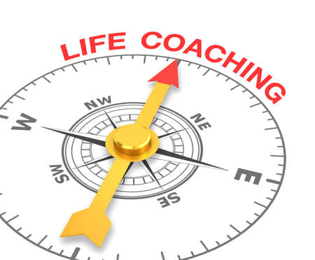 life coaching: compass with the needle pointing the word life coaching. 3d rendering