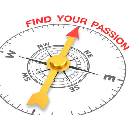 compass with the needle pointing the word find your passion. 3d rendering Stock Photo