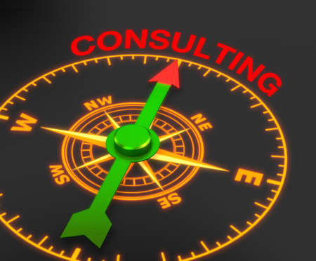 firms: compass with the needle pointing the word consulting, 3d rendering